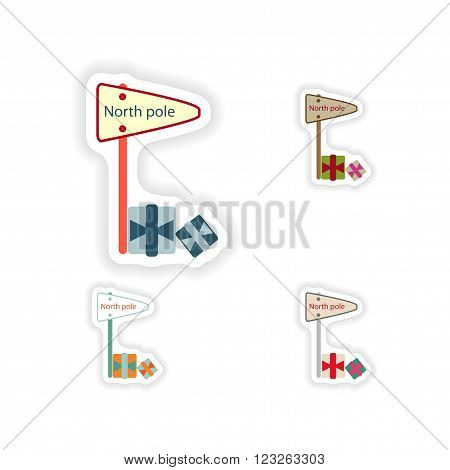stylish concept paper sticker on white background pointer North Pole