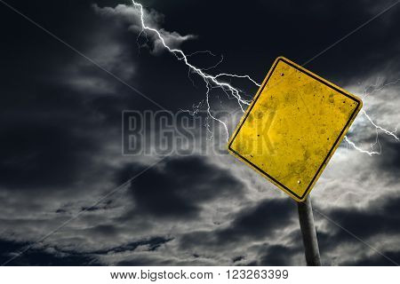 Empty And Dirty Road Sign With Stormy Background
