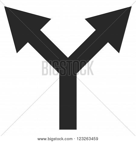 Bifurcation Arrow Up vector icon. Bifurcation Arrow Up icon symbol. Bifurcation Arrow Up icon image. Bifurcation Arrow Up icon picture. Bifurcation Arrow Up pictogram.