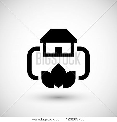Home heating system icon isolated on grey. Vector illustration