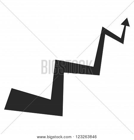 Curve Arrow vector icon. Curve Arrow icon symbol. Curve Arrow icon image. Curve Arrow icon picture. Curve Arrow pictogram. Flat gray curve arrow icon. Isolated curve arrow icon graphic.