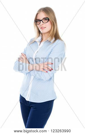 Cute Girl With Glasses - This is a photo of a cute young girl with glasses at the camera in shirt. Shot on an isolated white background.