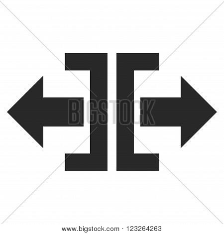 Divide Horizontal Direction vector icon. Divide Horizontal Direction icon symbol. Divide Horizontal Direction icon image. Divide Horizontal Direction icon picture.