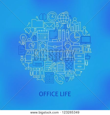 Thin Line Business Office Life Icons Set Circle Concept