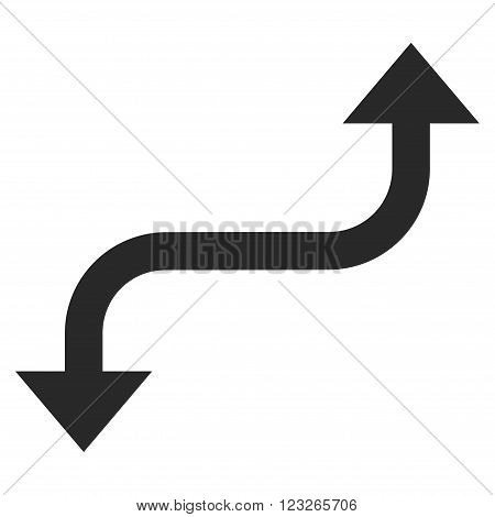 Opposite Curved Arrow vector icon. Opposite Curved Arrow icon symbol. Opposite Curved Arrow icon image. Opposite Curved Arrow icon picture. Opposite Curved Arrow pictogram.