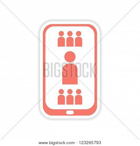 paper sticker on white  background mobile phone telephone book