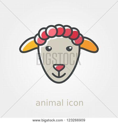 Sheep icon. Farm animal vector illustration eps 10