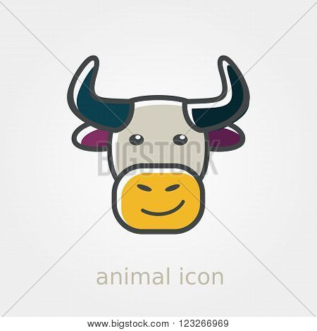 Bull icon. Farm animal vector illustration eps 10