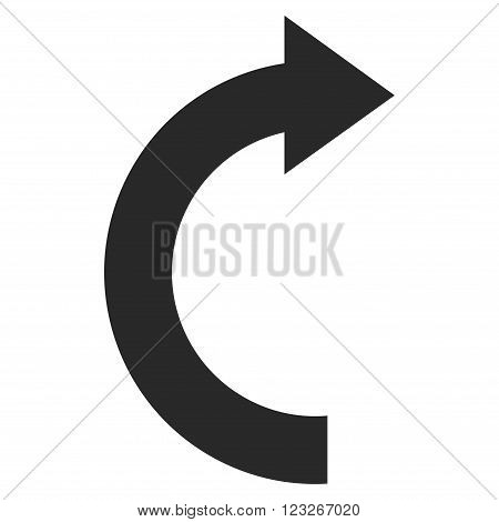 Rotate Right vector icon. Rotate Right icon symbol. Rotate Right icon image. Rotate Right icon picture. Rotate Right pictogram. Flat gray rotate right icon. Isolated rotate right icon graphic.
