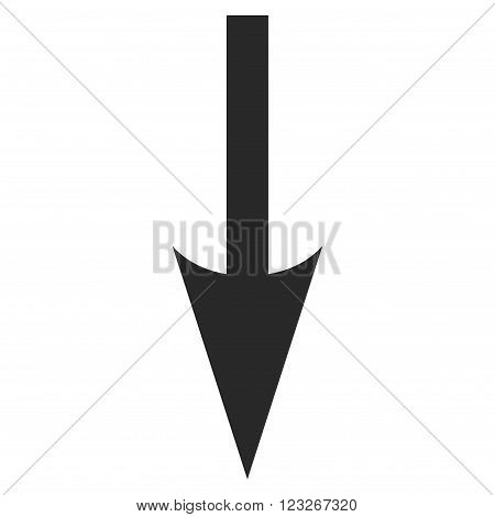 Sharp Arrow Down vector icon. Sharp Arrow Down icon symbol. Sharp Arrow Down icon image. Sharp Arrow Down icon picture. Sharp Arrow Down pictogram. Flat gray sharp arrow down icon.