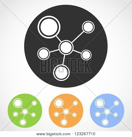 Social network icons - vector illustration. Set of flat icons social network in four color versions. Global technology or social network.