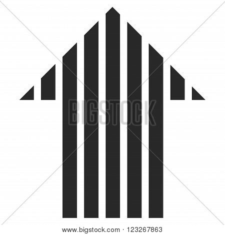 Stripe Arrow Up vector icon. Stripe Arrow Up icon symbol. Stripe Arrow Up icon image. Stripe Arrow Up icon picture. Stripe Arrow Up pictogram. Flat gray stripe arrow up icon.