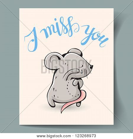 Postcard with a gray mouse and hand lettering