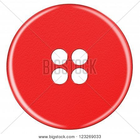 Red Plastic button isolated on white background