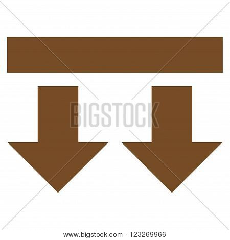 Bring Down vector icon. Style is flat icon symbol, brown color, white background.