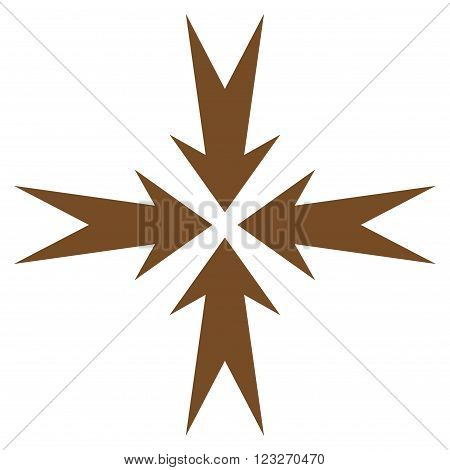 Compression Arrows vector icon. Style is flat icon symbol, brown color, white background.