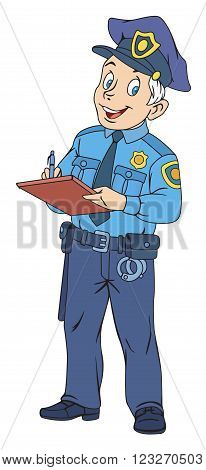 Illustration of policeman in uniform writing a ticket
