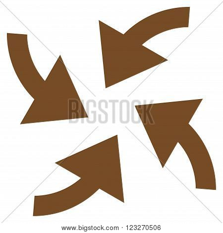 Cyclone Arrows vector icon. Style is flat icon symbol, brown color, white background.