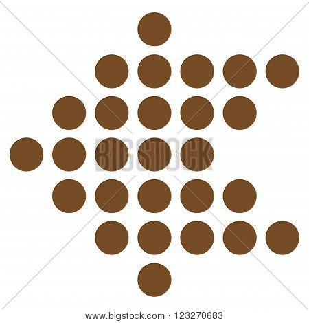 Dotted Arrow Left vector icon. Style is flat icon symbol, brown color, white background.