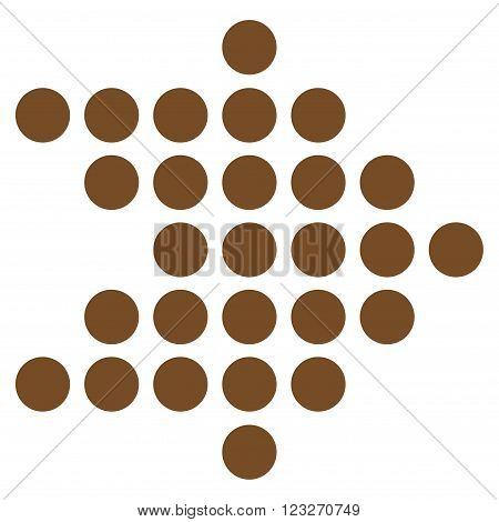 Dotted Arrow Right vector icon. Style is flat icon symbol, brown color, white background.