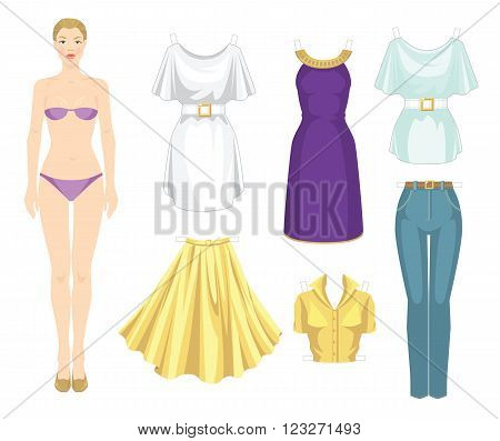 Paper doll with clothes. Body template. Set of template paper clothes. Clothes for holiday. Elegant white dress with white belt and gold buckle. Violet dress with gold decoration ribbon.