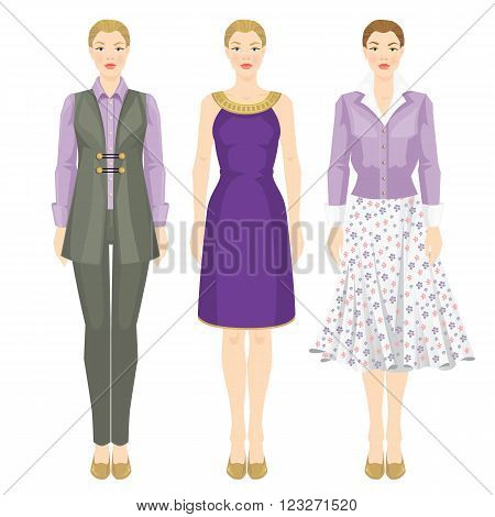 Vector illustration of women in clothes of lavender and violet color. Women in grey suit, cardigan with white blouse, skirt with flower print, violet dress with gold decoration.