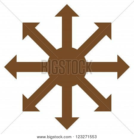 Radial Arrows vector icon. Style is flat icon symbol, brown color, white background.