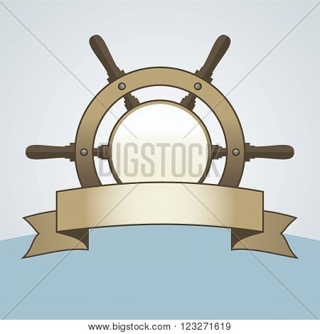 Ship helm vector background. Steering helm with banner and blank space for text. Ship helm vector sign with blank banner. EPS8 vector illustration.