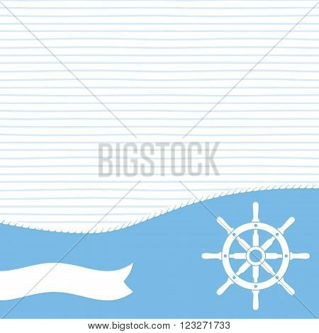 Ship helm with banner and blank space for your text. Ship steering helm symbol. EPS8 vector illustration.