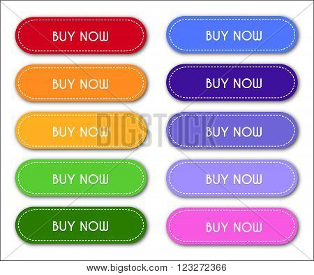 Set of 'Buy Now' Buttons on White Background