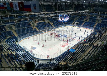 Moscow Russia - November 1 2015: Hockey stadium VTB Ice Palace which will be held in 2016 IIHF World Championship