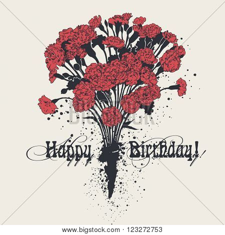 Happy Birthday! card with a bouquet of carnations, hand-drawn graphic illustration, vector