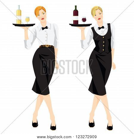 Vector illustration of waitress with tray. Pretty woman in formal black vest, skirt, white blouse and tie