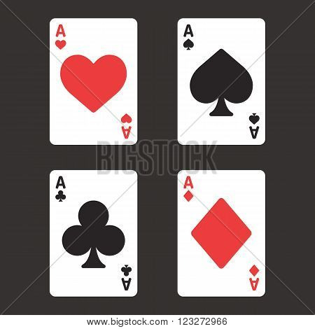 Card suit aces in modern simple style. Playing card vector illustration set.