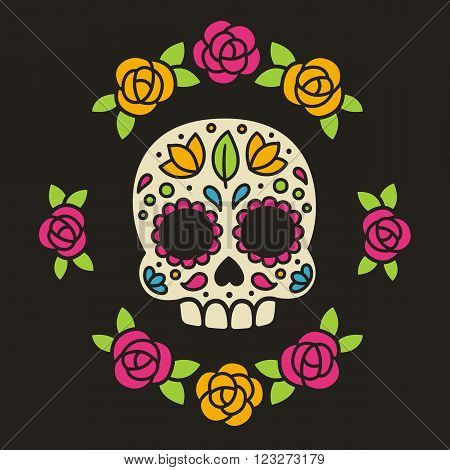 Mexican sugar skull with flowers. Dia de los Muertos or Day of the Dead. Vector illustration.