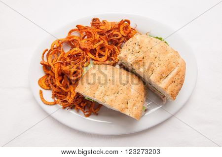 turkey focaccia sandwich with hand made deep fried sweet potato sprial chips