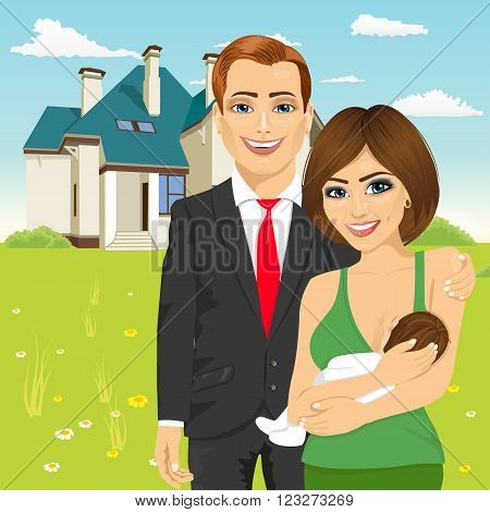 husband in a business suit standing next to his wife breastfeeding in front of classic cottage in the summer landscape