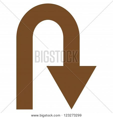 U Turn vector icon. Style is flat icon symbol, brown color, white background.