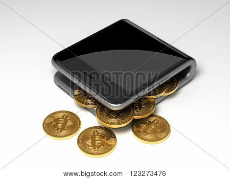 Concept Of Digital Wallet And Virtual Coins Bitcoins. 3D Scene.
