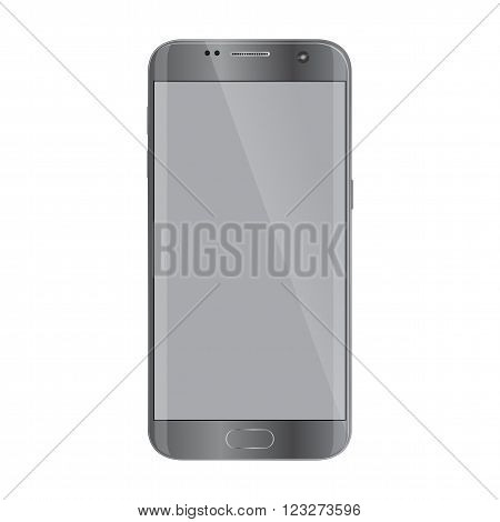 New version of modern smartphone with blank screen isolated on white.