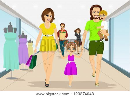 Happy family walking with shopping bags in supermarket. Young parents, mother and father with their son on his hands and daughter