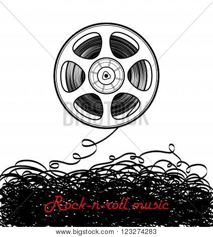 Magnetic tape and rock-n-roll music. Vector illustration.