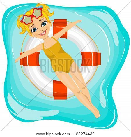 top view of little cute girl floating on an inflatable circle in the pool