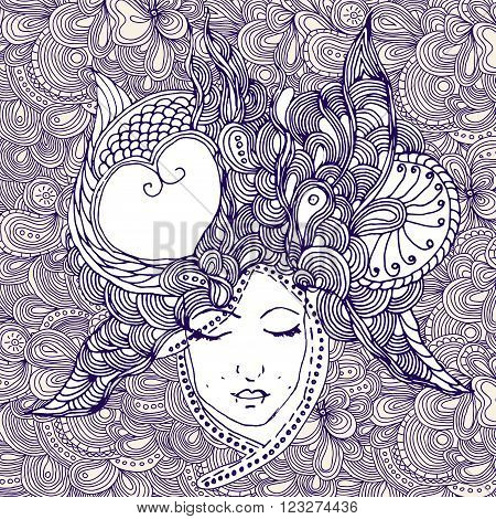 vector girl in doodle style with gorgeous hairs on doodle background. Can be used as card, invitation, background element, t-shirt print. Hand drawn style. Adult coloring book.