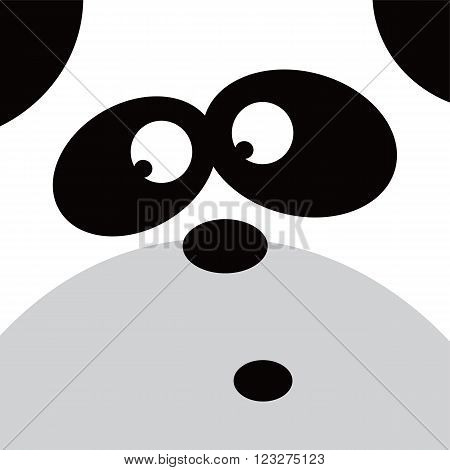 square panda face icon button theme vector art illustration