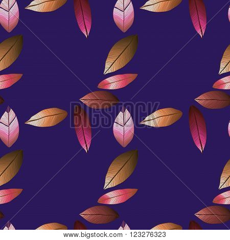 Vector seamless pattern with tribal leaf. Tribal forest pattern. Nature backdrop, repeated background. Winter dark blue background. Foliage