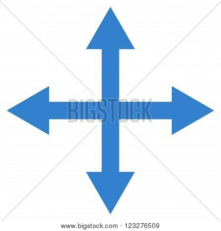 Expand Arrows vector icon. Style is flat icon symbol, cobalt color, white background.
