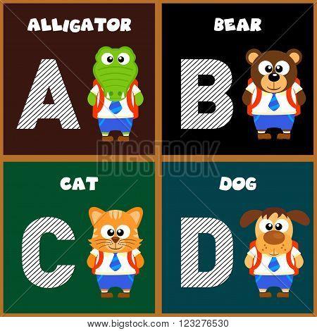 The English alphabet letter A,B,C,D. Vector illustration