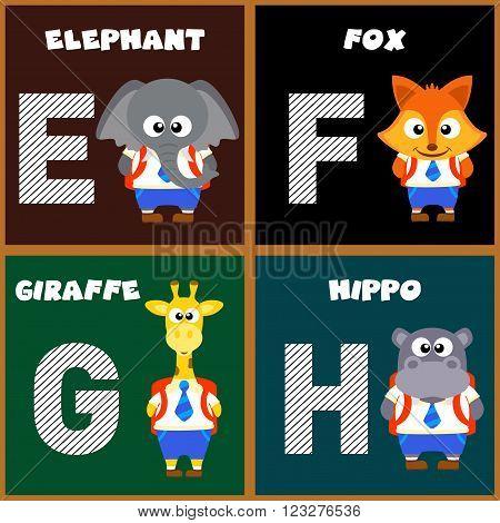 The English alphabet letter E,F,G,H. Vector illustration