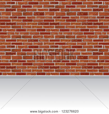 Red brick wall and wood floor background. Vector illustration.